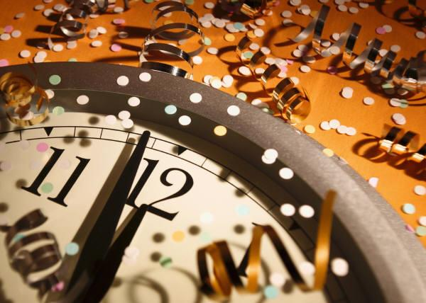 New Years clock orange